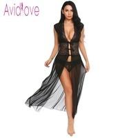 Avidlove Sexy Lingerie Babydoll Dress Erotic Long Night Gown Women Transparent Lace Nightwear Sheer Mesh Sleepwear