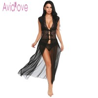 Avidlove Sexy Lingerie Babydoll Dress Erotic Long Night Gown Women Transparent Lace Nightwear Sheer Mesh Sleepwear