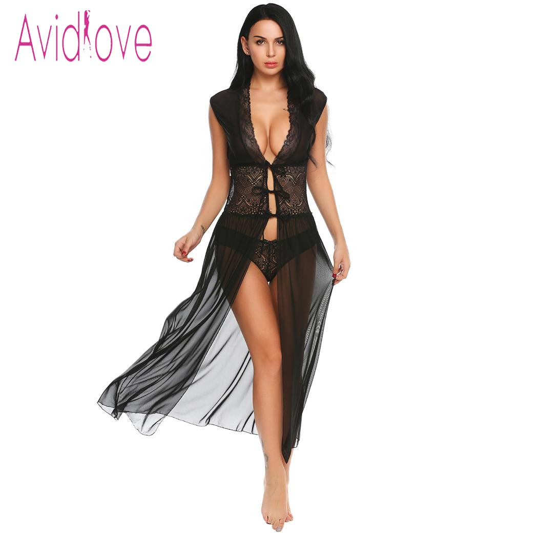 Avidlove Sexy Lingerie Robe Babydoll Érotique Longue Nuit Robe Femmes Transparent Dentelle De Nuit Sheer Mesh Nuit Avec Mémoires