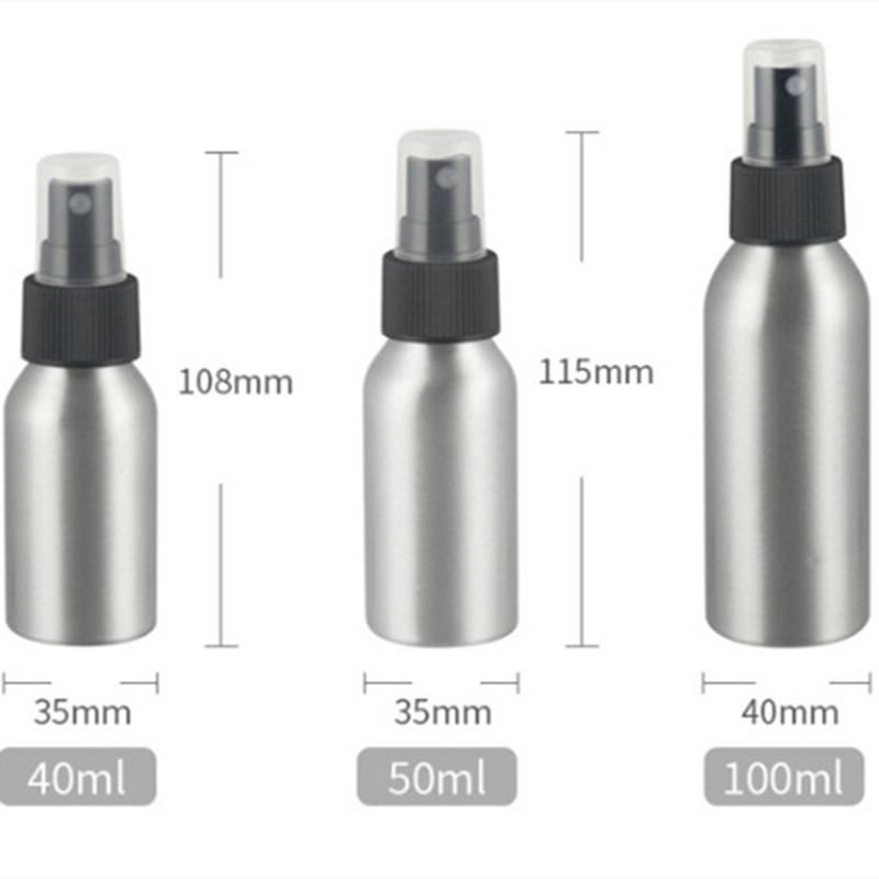 1Pcs Aluminum Spray Bottles 40ml Refillable Portable Travel Mini Cosmetic Container  Liquid Makeup Refillable Containers Package