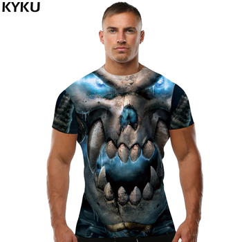 KYKU Skull T shirt Punk Tees Gothic shirts Clothing  T-shirt Tops Men Print Male Fashion 2018