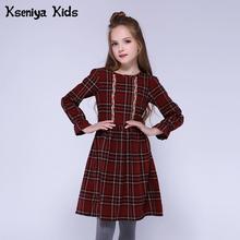 Kseniya Kids Children Girls Dresses Cotton Lolita Style Long Sleeve Winter Girl Plaid Dress Fashion Cute Girl Princess Dress недорого