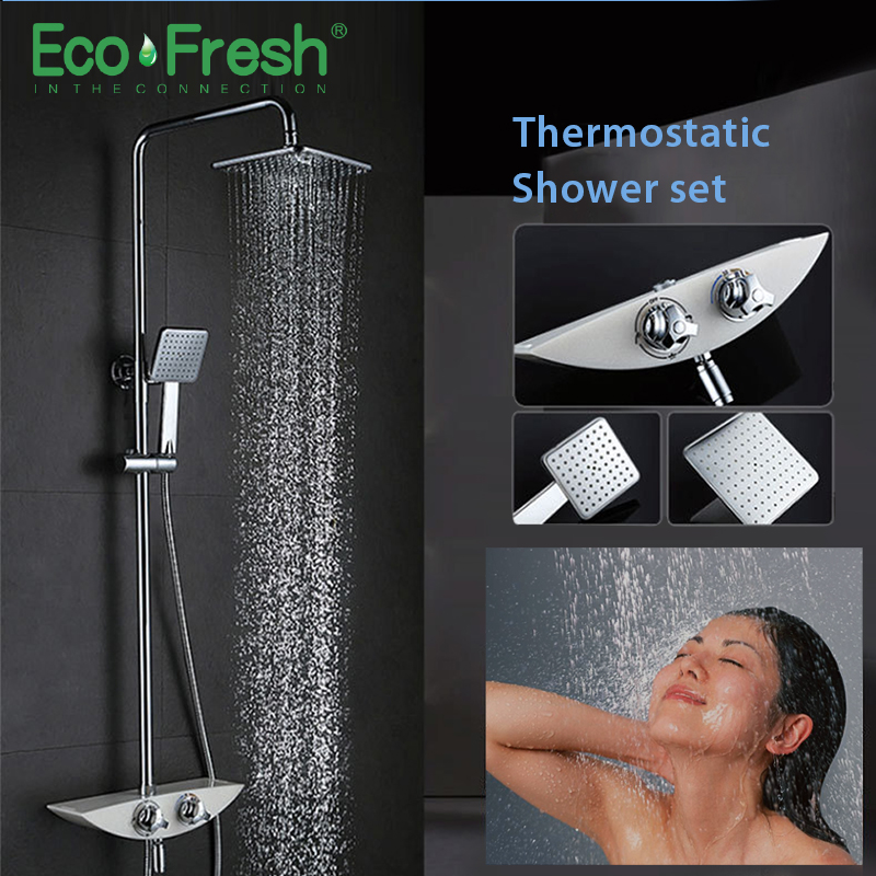 Ecofresh Shower System bathroom shower thermostat faucet mixer tap waterfall wall mount thermostatic mixer shower faucets taps gappo shower system bathroom shower thermostat faucet mixer tap waterfall wall mount thermostatic mixer shower faucets taps