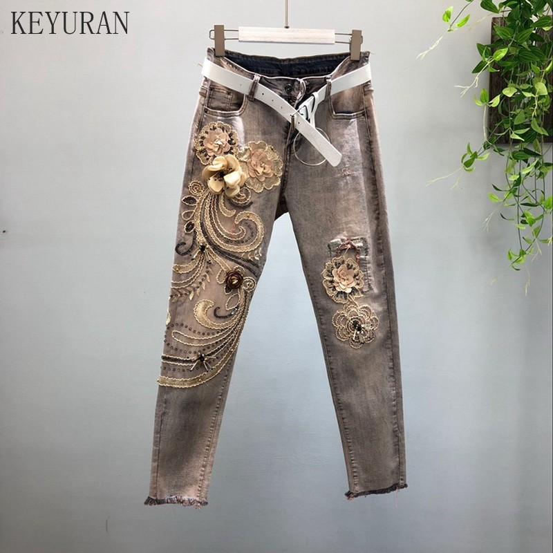 Vintage Jeans for Woman 2019 New Spring Autumn Heavy Stereo Flower Floral Stickers Elastic Denim Pants Girl Lady Casual Trousers