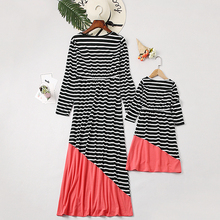 Mother and Daughter Dress Stripe Desgin Matching Mom Girls Family Clothes Outfits Beach Clothing