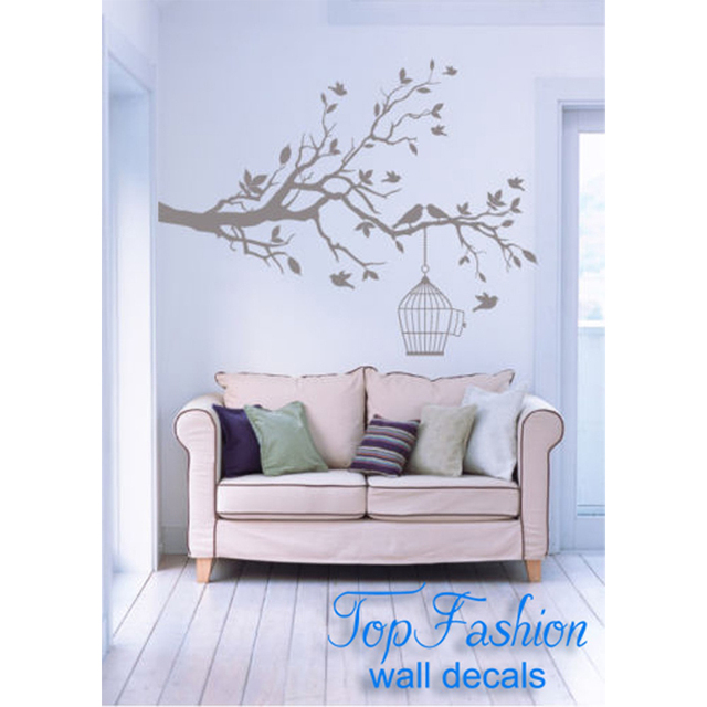 Tree Branch With Leaves Bird Cage Wall Decals Home Decoration Stickers Mural Vinyl