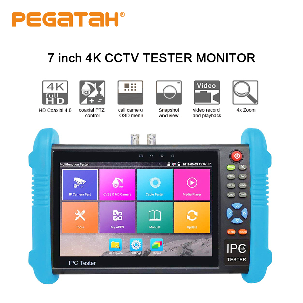 New 7 inch H.265 4K IP camera tester 8MP TVI CVI 5MP AHD CCTV cameraTester Monitor with RJ45 cable UTC test HDMI in/output POE