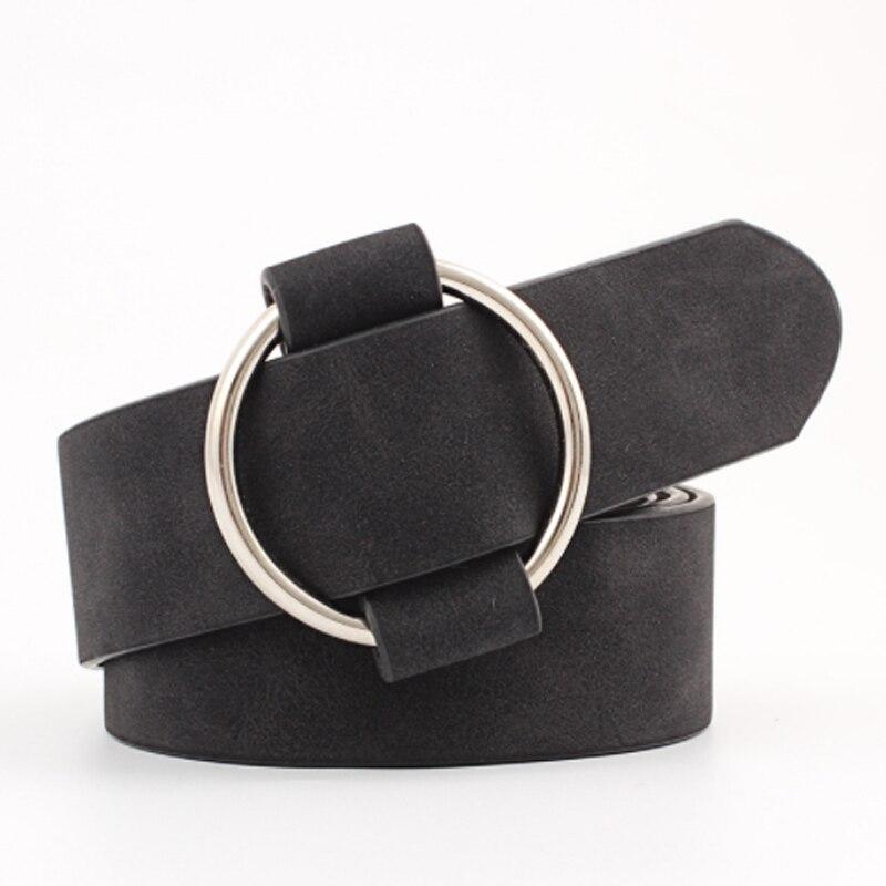 Fashion Women Leather Belt Newest Round Buckle Belts Female Leisure Jeans Wild Without Pin Metal Buckle Women Strap Belt
