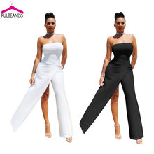 81de091cc3 PULBEANISS 2018 Summer Womens Jumpsuits Sexy Long Pant Jumpsuit Fitness  Romper Bodycon Femme Club Strapless Slit Solid Night