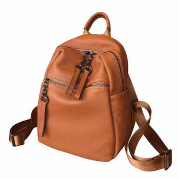 Real Genuine Leather Women's Backpack Female Real First Layer Cow Leather Ladies' Backpacks Travel ipad Cowhide Bags - DISCOUNT ITEM  40% OFF All Category