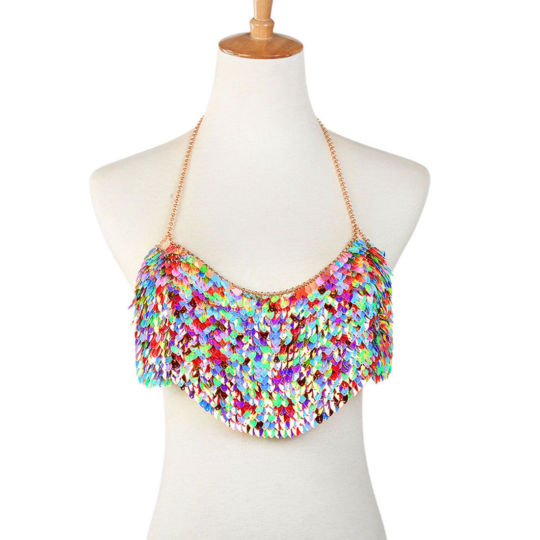 Colorful Sequins Bra Body Chain Crop Top Bra Halter Choker Lingerie Bikini Party Jewelry frill trim smock crop halter top