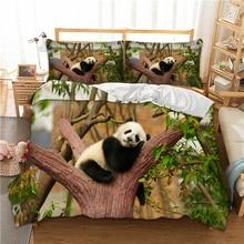 3D PANDA บนต้นไม้ผ้านวมชุดเครื่องนอน SINGLE TWIN Full Queen King ขนาดโพลีเอสเตอร์ผ้าปูที่นอน