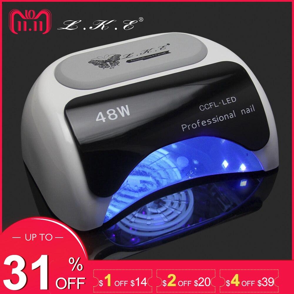 LKE Professional 48W CCFL LED Lamp Nail Dryer For Nail Gel Polish Curing Nails Lamp Dryers Art Manicure Automatic sensor US EU