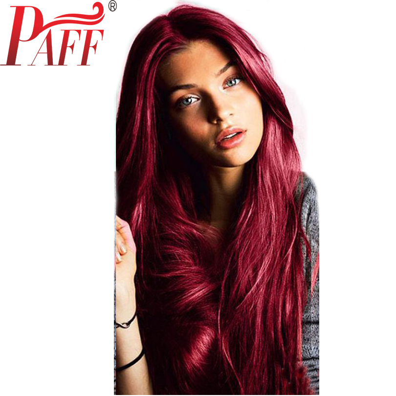 PAFF 99J Natural straight glueless lace front wig 150 density Virgin hair Peruvian Wine Red Burgundy