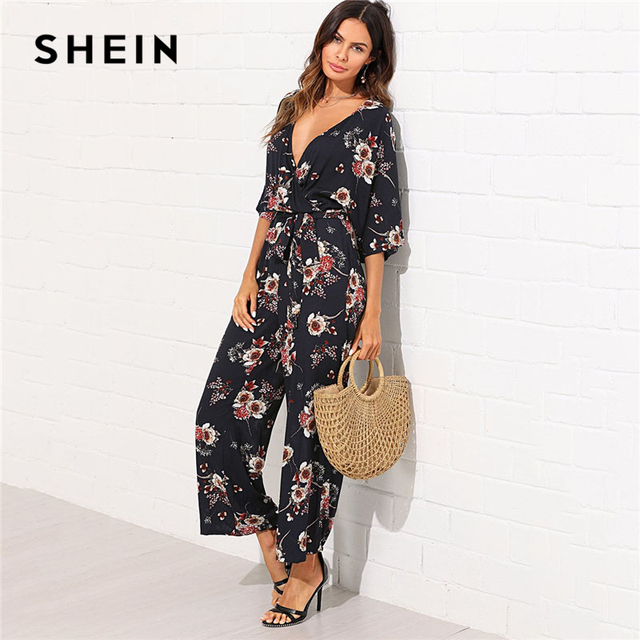 42bf007af20 SHEIN Surplice Neck Wide Leg Maxi Floral Jumpsuit Women Deep V Neck Batwing  3 4