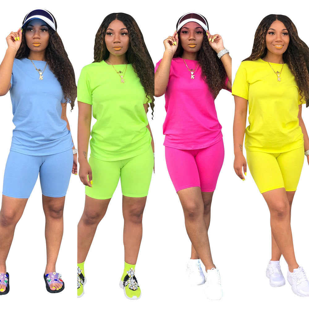 Women 2 Piece Shorts Outfits Sets Casual Workout Tops T-Shirt Bodycon Short Pants Summer Sport Tracksuits
