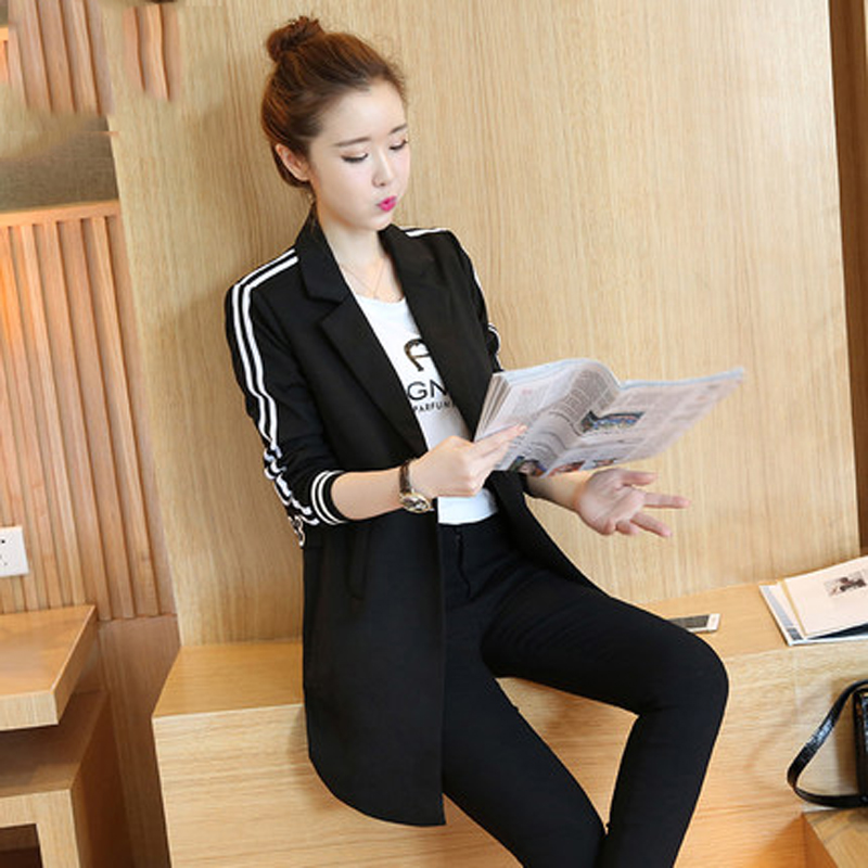Black suit 2018 spring and autumn womens new long-sleeved small suit Slim sideband wild casual long suit jacket