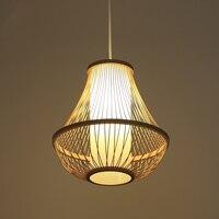 Большая лампа форма бамбуковый Кулон лампы ручной вязки подвесной светильник Домашнее освещение для Гостиная Кабинет холле отеля деревянн
