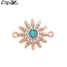 Pipitree Fashion Blue Fire Opal Charm DIY Copper Micro Paved CZ Zircon Sun Charms Connector for Bracelet Jewelry Making 14MM(China)