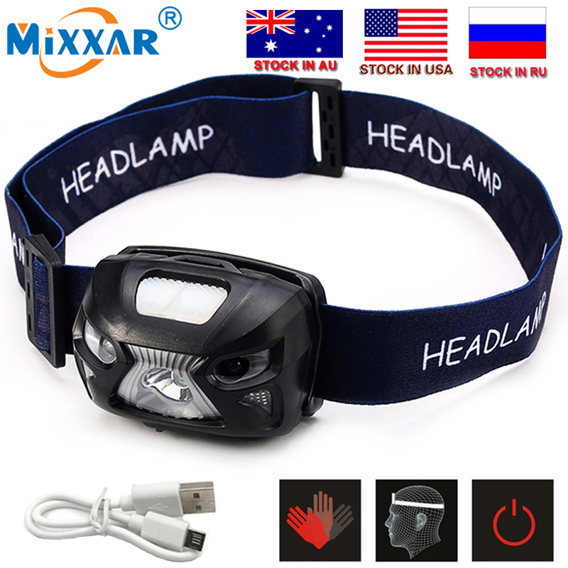 CZK10 New 4000Lm Mini LED Headlight Motion Sensor Headlamp Rechargeable Head Torch Lamp RED Fishing Hiking Light +USB Charger poppas micro usb sensor headlamp xpg 2 led chip rechargeable motion bicycle head red green black 3 colour red light mode outdoor
