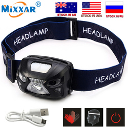 CZK10 New 4000Lm Mini LED Headlight Motion Sensor Headlamp Rechargeable Head Torch Lamp RED Fishing Hiking Light +USB Charger