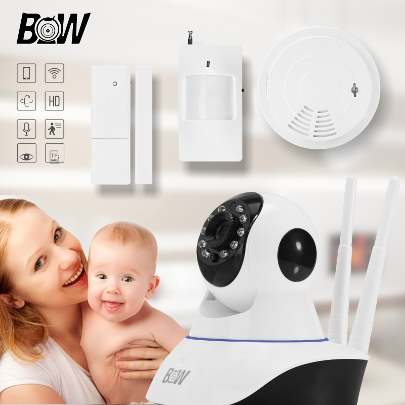 PTZ Security Camera IP Alarm System PnP Wireless Camera Wifi Monitor +Door Sensor/PIR Motion Sensor/Smoke Detector BW002D bw wireless wifi door