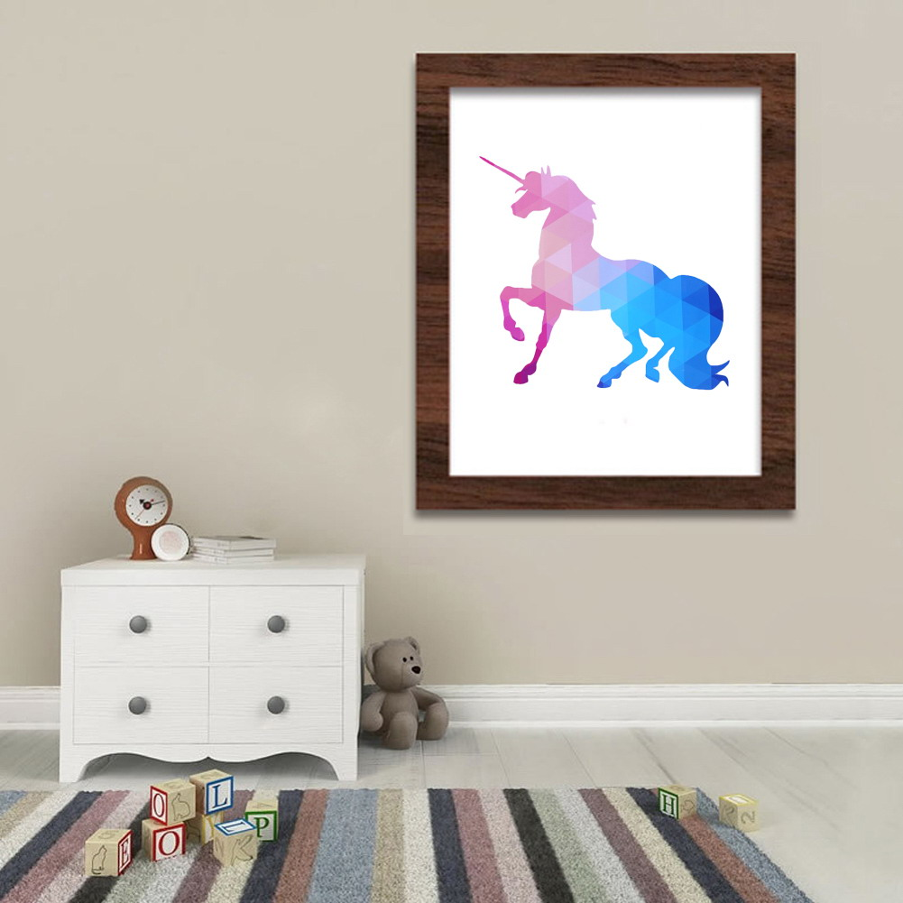 Modern decor frameless wall picture unicorn pattern for Modern accents