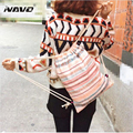 Canvas drawstring backpack double-shoulder cinch bag cotton calico draw string ethnic backpack outing fashion travel rucksacks