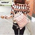 Lona cordão mochila double-shoulder bag cinch algodão chita desenhar cordas étnica mochilas de viagem de passeio mochila moda