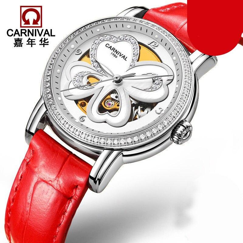 Switzerland Carnival Luxury Brand Watches Women Automatic Mechanical Wristwatches Sapphire Waterproof relogio feminino C8032-2 switzerland nesun women s watches luxury brand clock automatic mechanical wristwatches waterproof relogio feminino n9073 2
