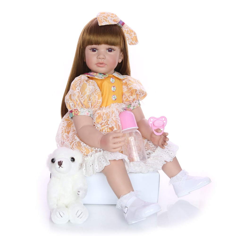 Alive <font><b>60</b></font> <font><b>cm</b></font> bebe <font><b>Doll</b></font> <font><b>Reborn</b></font> Babies Silicone + cotton Body Lifelike Newborn <font><b>Dolls</b></font> Realistic Straight hair Baby Toys girls gift image