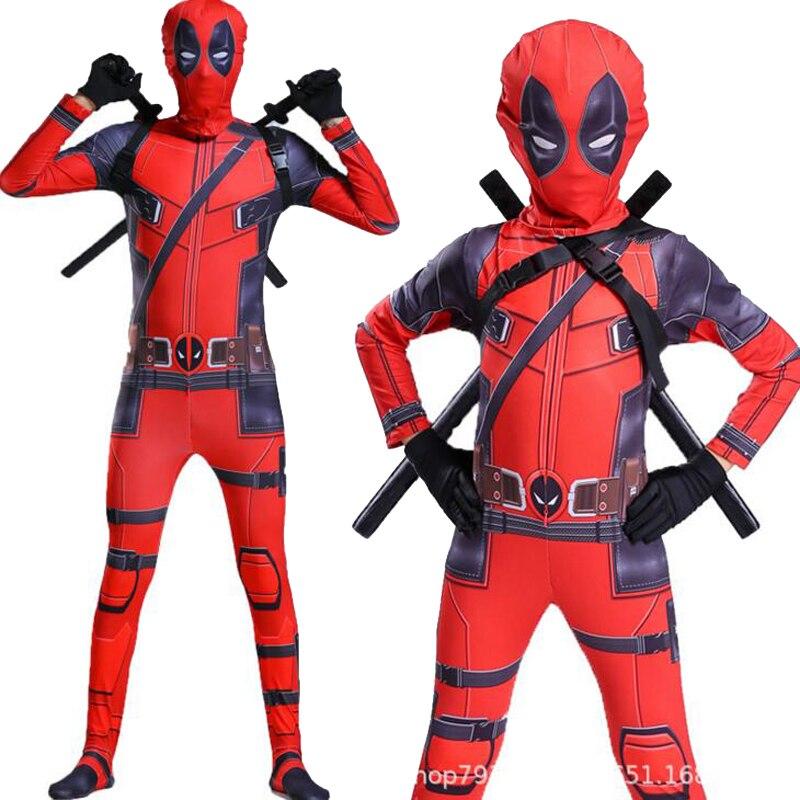 Qualidade do filme crianças deadpool 2 traje adulto super-herói elastano terno festa de halloween cosplay traje com espadas luvas