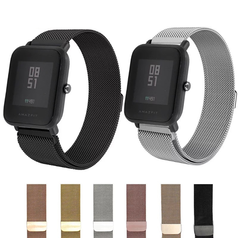 20mm Metal Stainless Strap for Xiaomi Huami Amazfit bip Bracelet Watch Band Milanese Magnetic Belt mijia Quartch Wrist strap|Smart Accessories| |  - title=