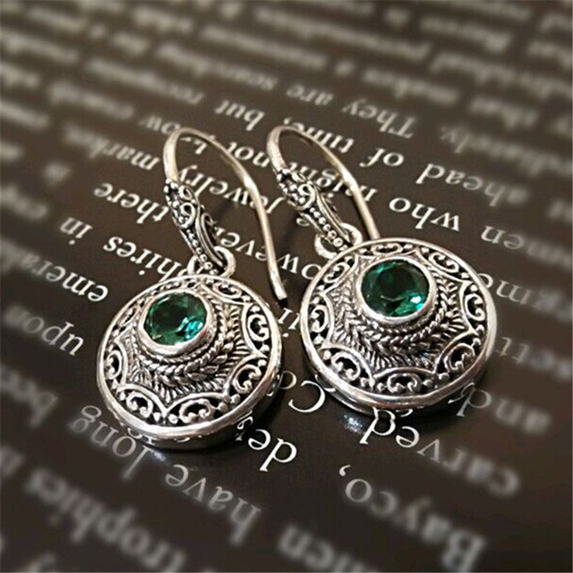 Antique Emerald Earrings Silver Filigree Green Austrian Crystal 925 Sterling Drop In