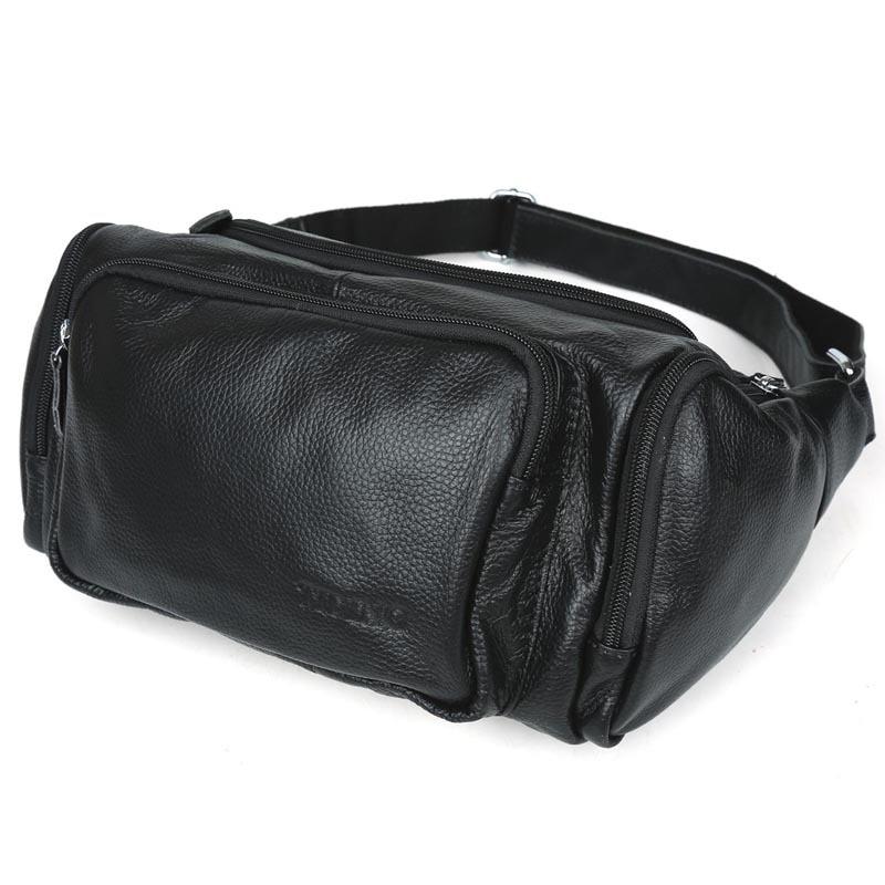 Vintage Embossed Leather Waist Bag Pack Pillow Fanny Pack Bum Bag Hip Pack Belt Pouch Black