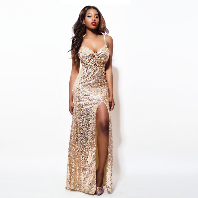 2019 Gold Sequin Maxi Dress Elegant Evening Paillette Robe Sexy high slit  Bustier Dress spaghetti strap v neck mermaid dresses 29ad9130e