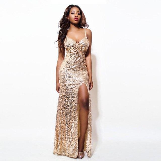 2019 Oro Paillettes Maxi Vestito Elegante Da Sera di Paillette Abito Sexy  di alta fessura Vestito c3556b954f5