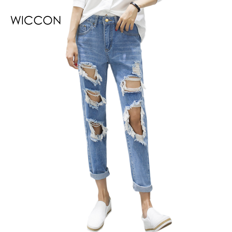 Rough selvedge Hole jeans pants for women Elastic High Waist denim blue loose straight Ripped pants Summer Edge Curl Trousers summer casual women jeans high waist big hole ankle length ripped loose straight pants women denim trousers edge curl vintage