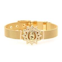 Luxury Virgin Mary Micro-inlaid Zircon Bracelet Women Wide Watchband Gold Color Stainless Steel Bracelets Prayer Jewelry Pulsera