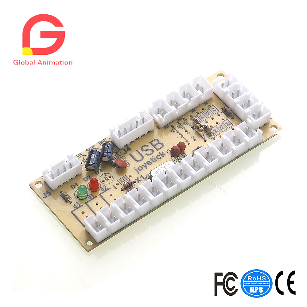 2 pcs Zero Delay Generic Game Controller USB to Joystick for MAME & Raspberry Pi1/2/3 RetroPie DIY Projects Support for SANWA