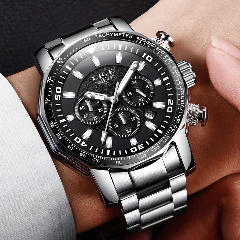 2018 LIGE New Fashion Mens Watches Top Luxury Brand Quartz Watch Men Sport Waterproof Big Dial Male WristWatch Relojes Hombre image