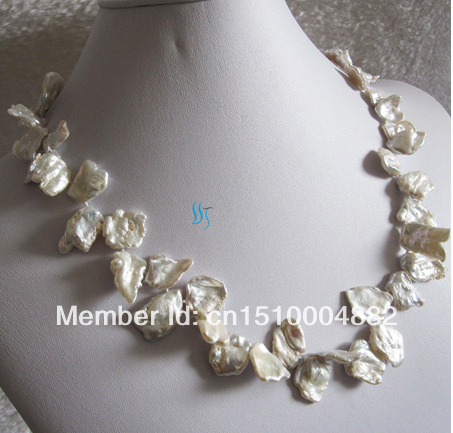 free shipping  0019 White Keshi Freshwater Pearl Necklace
