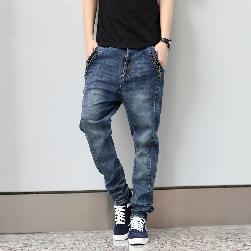 Men's Personality Big Loose Jeans Male Long Trousers Plus Size S-6XL Elastic Harem Pants New Arrival Fashion High Quality fashion men s clothing print jeans male slim elastic colored drawing personality trousers flower trousers