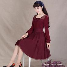 2016 nova primavera do vintage da moda organza patchwork lace dress lantern manga comprida chiffon dress o pescoço elegante curto mulheres dress