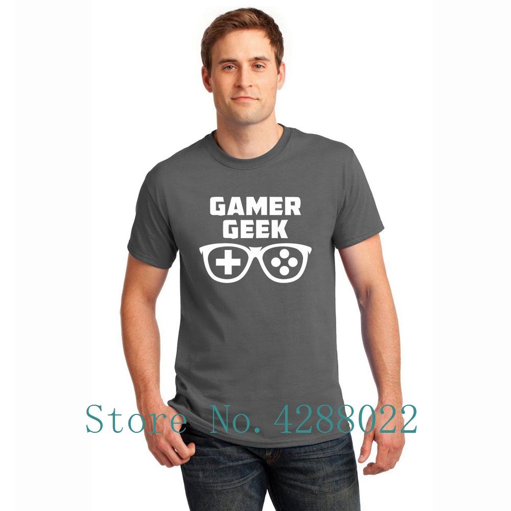 Gamer Geek T Shirt For Men Short Sleeve Printed Humorous T Shirt Solid Color Male Big Size Xxxl Fitted High Quality
