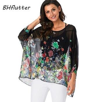 1f9cf74ce3f ... летняя блуза туника плюс ... BHflutter Женские топы и блузки Harajuku  цветочный шифоновые рубашки с принтом рукав