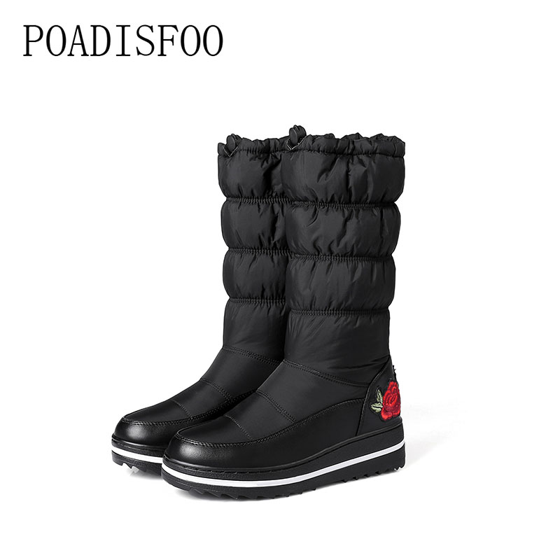 POADISFOO Puls Size 2017 new winter warm thick plush high quality embroidery font b snow b