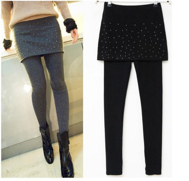 Warm Stretch Skinny Pants New Style Mini Faux Skirt False Two Pieces Leggings Hot Drilling Women Leggings