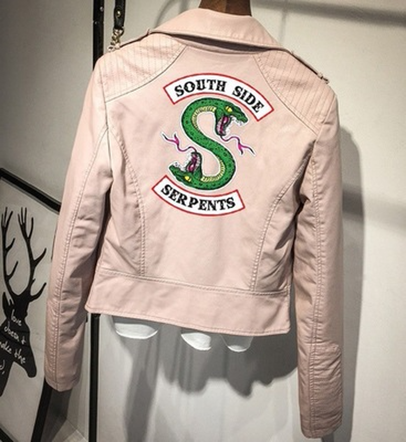 Southside Riverdale Snake Pink/Black PU Leather Jacket Women's Riverdale Snake Skin Streetwear Leather Brand Jacket 1340-2