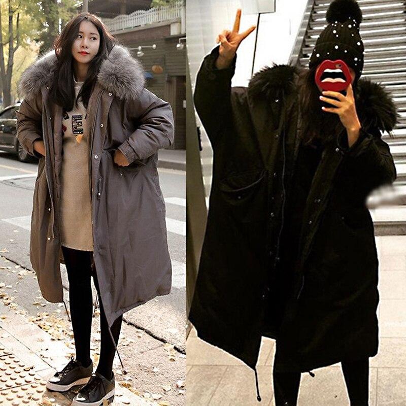 Hiver Outwear Coton Rembourré Coat Chaud Grand Black Col Femmes Épais Coat Parkas Ouatée Kld1267 Fourrure Manteaux gray À Long Femelle Veste De En Capuche awXIx6Faqr